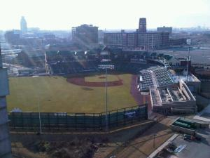 View of Campbell Field in Camden from Ben Franklin Bridge