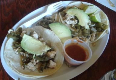Taco Riendo chicken with onons, avocado and cactus tacos